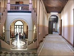 Escadaria de mármore na entrada e corredores da escola (Foto: Reprodução/ TV TEM)