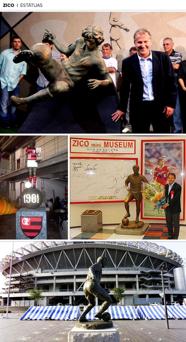 Mosaico - Zico estátuas (Foto: Editoria de arte)