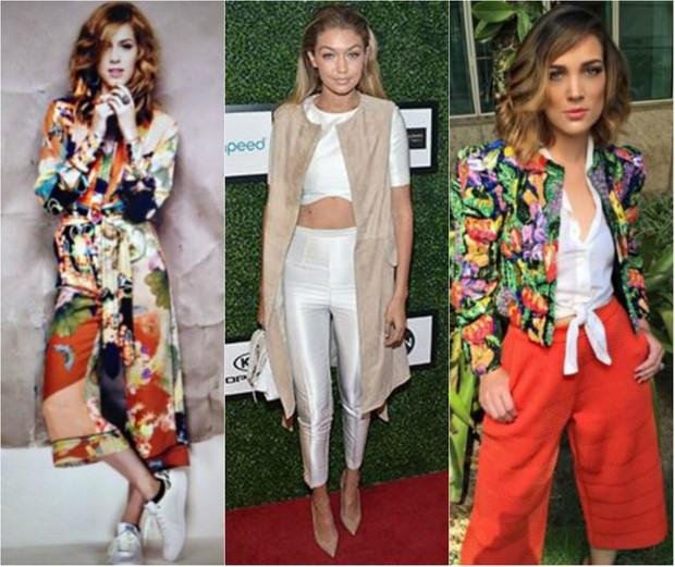 Pantacourt: Sophia Abrahão, Gigi Hadid e Adriana Birolli já estão usando calças na altura das canelas (Foto: Reprodução do Instagram)
