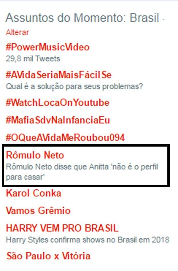 Declaração de Rômulo Neto sobre Anitta entrou para TTs no Twitter (Foto: Reprodução/Twitter)
