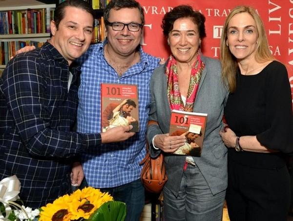 Marcelo Serrado, o autor João Emanuel Carneiro e Lilia Cabral foram prestigiar a autora, Patrícia Kogut (Foto: Cristina Granato)