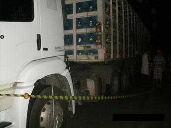 Caminhão atropelou motociclista e vaca em Custódia, PE (Foto: Divulgação / PRF)