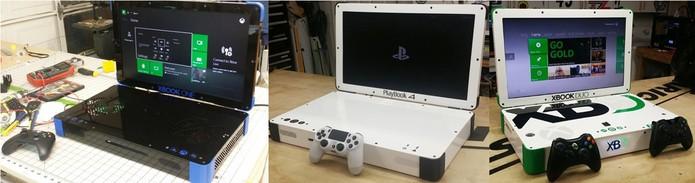 Outros consoles criados por Ed, além do Playbox: Xbook One, PlayBook 4 e Xbook Duo  (Foto: Reprodução/Edsjunk.net)