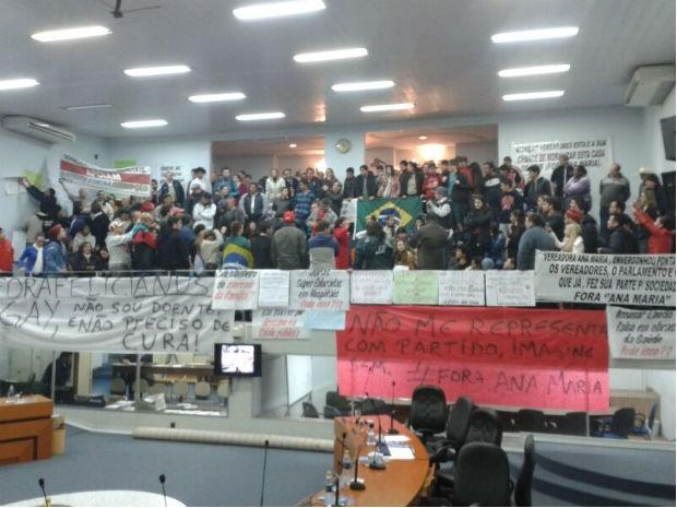 Manifestantes acompanharam a sessão extraordinária desta segunda-feira (24) (Foto: Arquivo Pessoal)