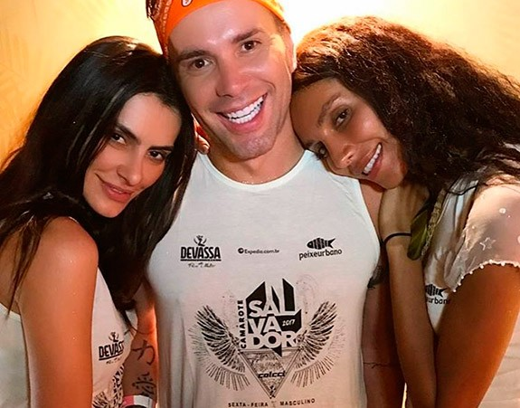 Matheus Mazzafera com Cleo Pires e Lea T (Foto: Reprodução/Instagram)
