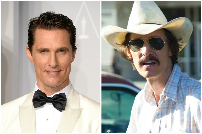 Matthew McConaughey como o protagonista de 'Clube de Compras Dallas' (2013). (Foto: Getty Images e Reprodução)