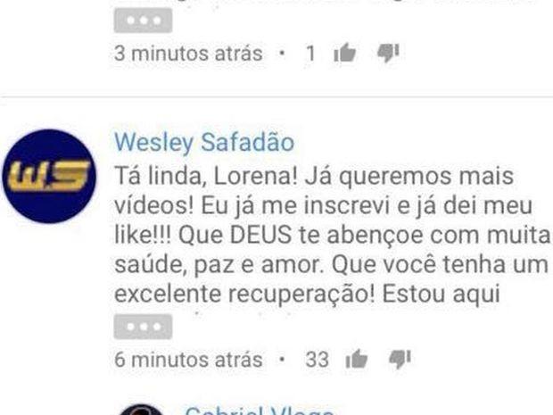 Cantor Wesley Safadão comentou no vídeo de Lorena (Foto: Reprodução/Internet)