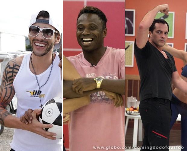 Gusttavo Lima, Edílson e Daniel Boaventura prometem voltar com tudo da repescagem! (Foto: Domingão do Faustão / TV Globo)