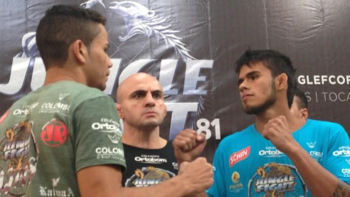 Maike Linhares (esq.) e Rodrigo Praia (dir.) vão disputar p cinturão dos 61 kg (Foto: Vilma Nascimento/GloboEsporte.com)