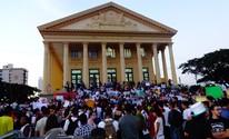 Veja fotos da manifestação que aconteceu na segunda (17) em Campos, RJ (Priscilla Alves/ G1)