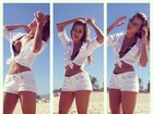 Adriana Sant'Ana posa de shortinho e decote na praia e mostra boa forma