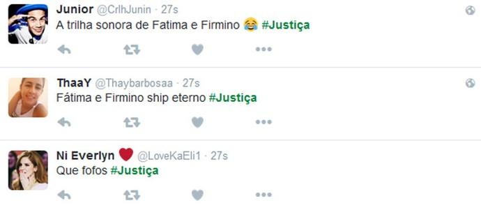 Telespectadores torcem por Firmino e Fátima (Foto: TV Globo)