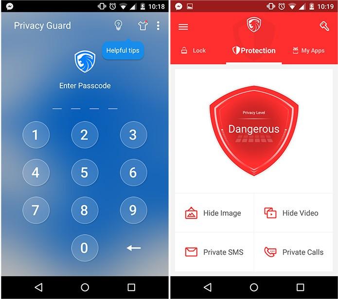 Quando não há nenhuma mídia protegida, o app fica vermelho, representando o maior nível de ameaça (Reprodução)
