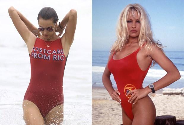 Alessandra Ambrosio usou modelito parecido ao das atrizes da série Baywatch (S.O.S. Malibu) (Foto: AgNews e Divulgação)