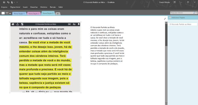 O conteúdo reconhecido pelo OCR poderá ser colado como texto no próprio OneNote (Foto: Reprodução/Daniel Ribeiro)