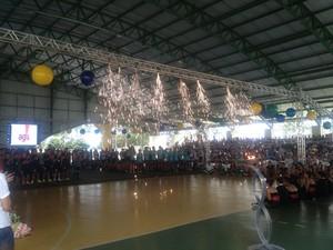 Cerimônia de abertura dos Jogos Escolares de Palmas 2014 aconteceu nesta terça-feira (15) na escola Padre Josimo (Foto: Camila Rodrigues/GloboEsporte.com)