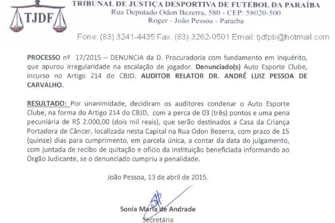 Decisão do TJD-PB sobre punição do Auto Esporte (Foto: Divulgação / FPF)
