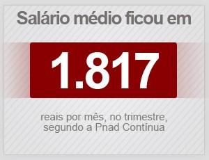 Salário médio foi de R$ 1.817 no trimestre fechado em fevereiro de 2015, segundo a Pnad Contínua (Foto: G1)
