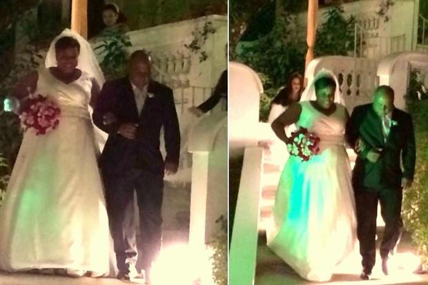 Cacau Protásio com o pai Geraldo na cerimônia do seu casamento, no Rio (Foto: Léo Martinez/EGO)