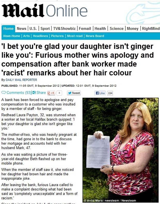 Laura Payton reclama de comentário feito por bancária sobre seus cabelos ruivos (Foto: Reprodução/Daily Mail)