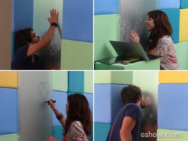 Fofos!!! Manu e Davi ficam separados pela baia, mas matam a saudade como podem (Foto: Geração Brasil/TV Globo)