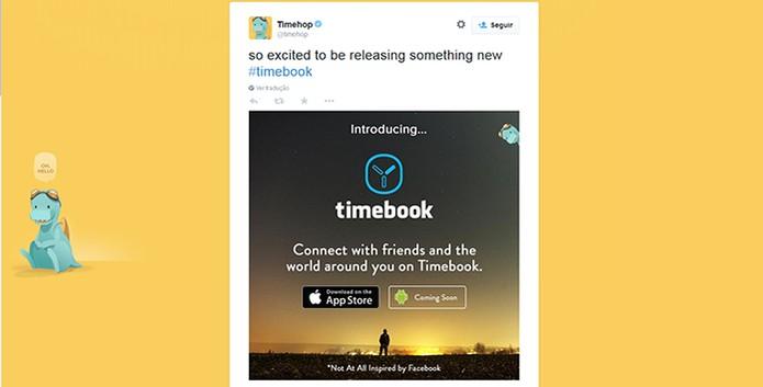Timehop publica tuíte anunciando timebook, mas não passa de uma brincadeira (Foto: Reprodução/Barbara Mannara)