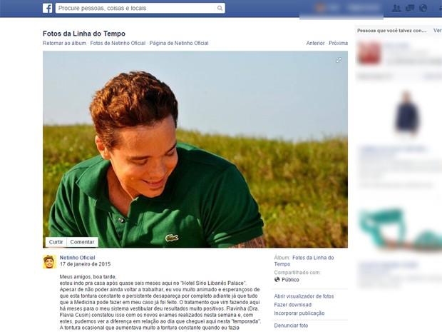 Cantor Netinho comentou em sua página no Facebook o fim do tratamento que realizava em SP desde agosto de 2014 (Foto: Reprodução Facebook)