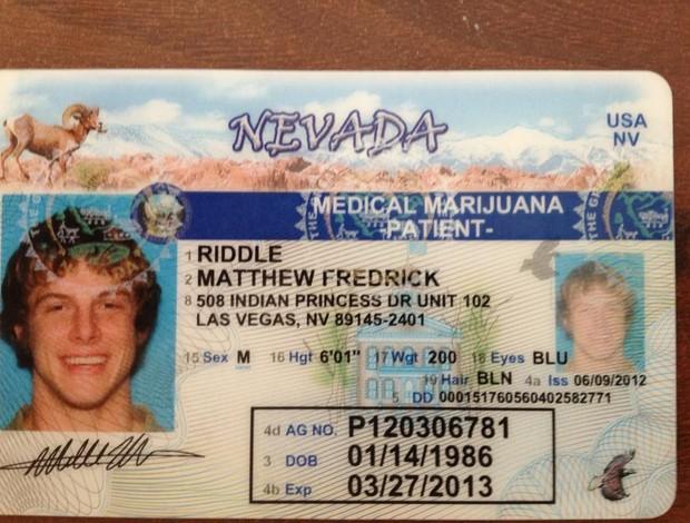 Licença para uso de maconha medicinal do lutador Matt Riddle (Foto: Reprodução/Twitter)