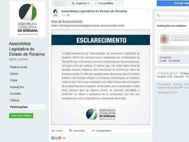 Assembleia Legislativa publicou esclarecimento na página oficial após a exclusão do vídeo em homenagem às mulheres (Foto: Reprodução/Facebook/Assembleia Legislativa do Estado de Roraima)