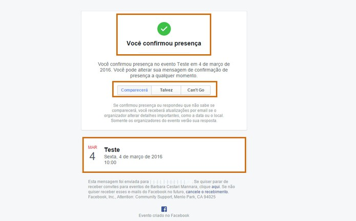 Mensagem de confirmação é exibida na tela do convidado com os dados do evento do Facebook (Foto: Reprodução/Barbara Mannara)