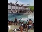 Vídeo mostra pulos proibidos de ponte no piscinão de Deodoro, no Rio