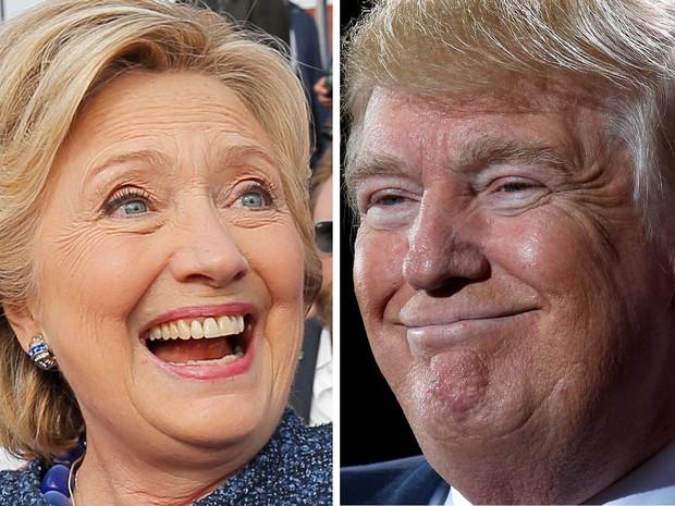 Hillary Clinton, do Partido Democrata, e Donald Trump, do Republicano, em combinação de fotos (Foto: REUTERS/Brian Snyder/ Carlo Allegri)