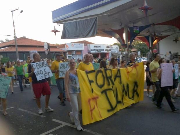 Manifestantes carregam faixa contra o governo Dilma em Santa Bárbara d'Oeste (Foto: Willian Tião/Acervo pessoal)
