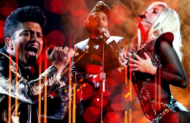 Lady Gaga, The Weeknd e Bruno Mars (Foto: Getty / Kevin C. Cox / Staff / Larry Busacca / Staff / Rich Polk / Stringer / John Sciulli / Stringer / Jason Merritt / Staff)