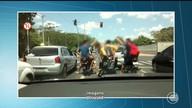Vídeo mostra flagrante de desrespeito às leis de trânsito