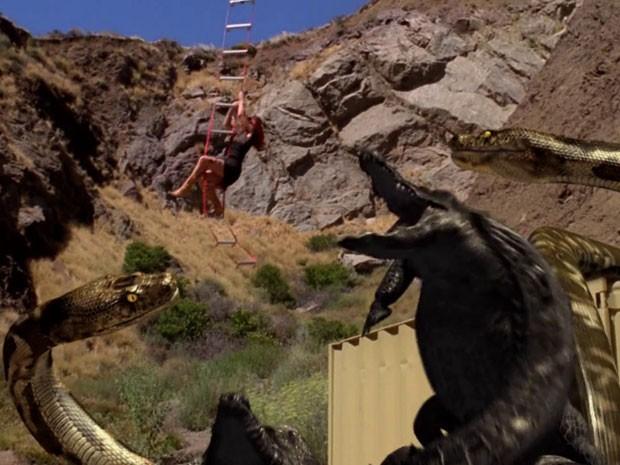 Cena de 'Mega python vs. gatoroid' (Foto: Divulgação)