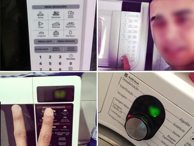 Em brincadeira, eleitores tirar selfie em urnas de 'mentira', e usaram mostradores de aparelhos para expor o número de seus candidatos (Foto: Reprodução/Instagram)