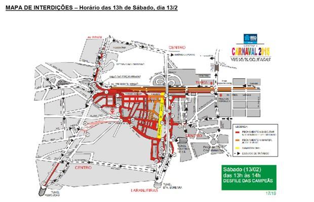 Mapa de interdições de sábado (Foto: Reprodução / Centro de Operações da Prefeitura)
