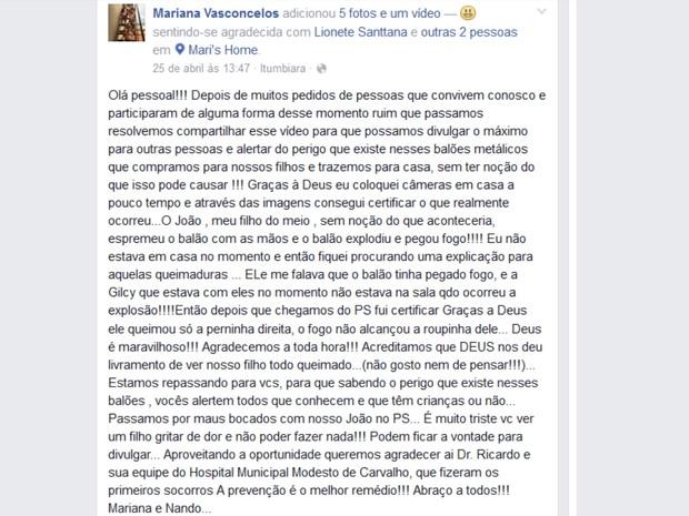 Mãe relatou como menino sofreu queimaduras ao brincar com balão, em Goiás (Foto: Reprodução/Facebook)
