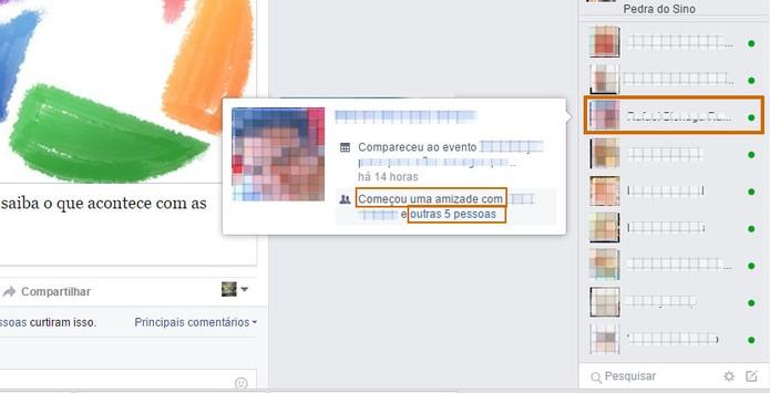 Confira os amigos adicionados recentemente pelo contato usando o atalho do chat (Foto: Reprodução/Barbara Mannara)