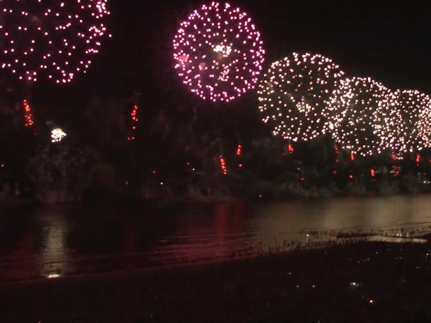 Espetáculo durou 17 minutos em Santos, no litoral de São Paulo (Foto: Prefeitura de Santos)