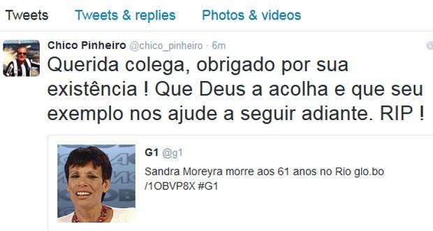 Chico Pinheiro lamentou morte de Sandra Moreyra (Foto: Reprodução)