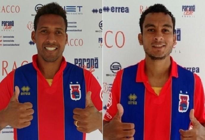 Lateral-direito Dick e atacante Nádson Paraná Clube (Foto: Site oficial do Paraná Clube/Divulgação)
