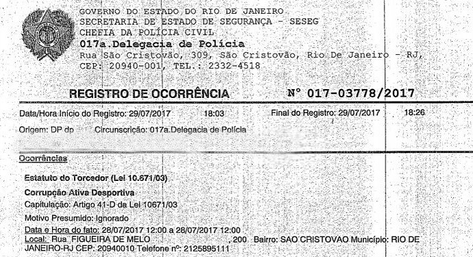 Registro de ocorrência feito pelo São Cristóvão na 17ª DP iniciou investigação que terá oitivas na próxima semana (Foto: Reprodução)