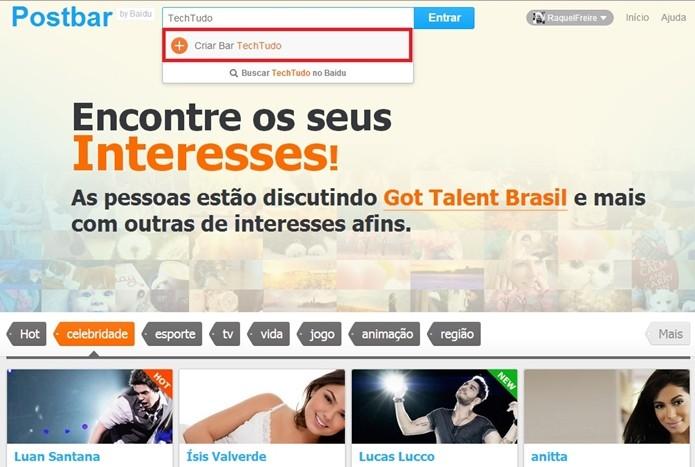 Tela inicial da Postbar logada, com destaque para criação de nova barra sobre o assunto TechTudo (Foto: Reprodução/Raquel Freire)