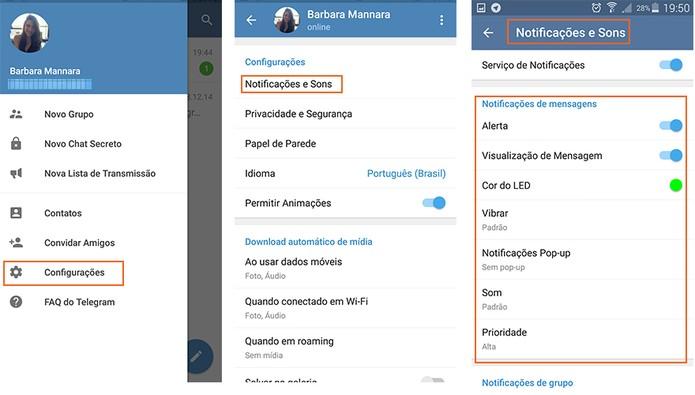 Configurações de notificações e sons no Telegram (Foto: Reprodução/Barbara Mannara)