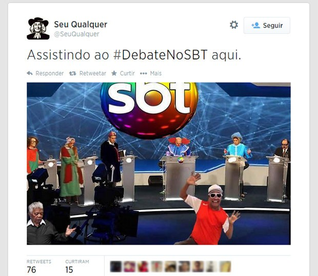 Internautas trocaram a imagem dos candidatos por personagens famosos de programas do canal de televisão SBT (Foto: Reprodução/Twitter/SeuQualquer)