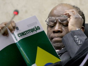 O presidente do STF, Joaquim Barbosa, no julgamento do mensalão (Foto: Fellipe Sampaio/SCO/STF)