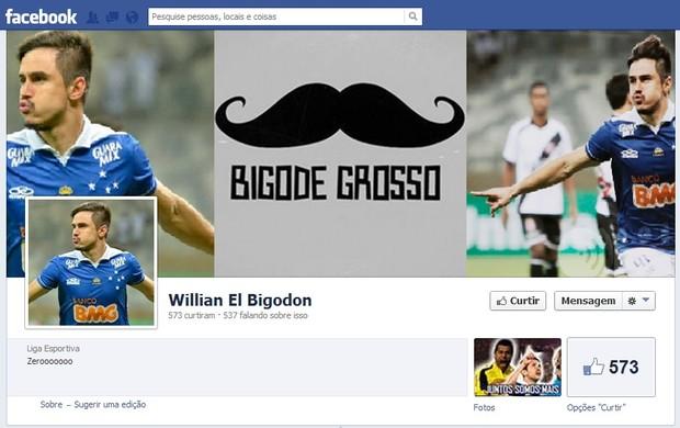 Cruzeirenses criam página no Facebook para homenagear visual de Willian (Foto: Reprodução / Facebook)