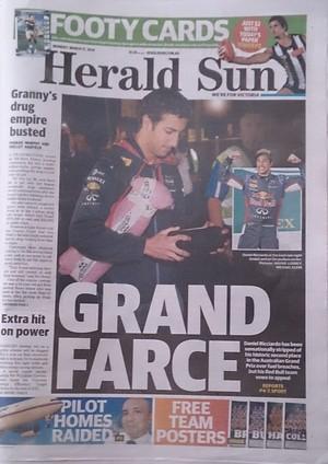 Jornal 'Herald Sun' não esconde decepção com desclassificação de Daniel Ricciardo no GP da Austrália (Foto: Felipe Siqueira)